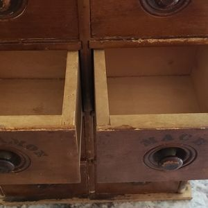 Vintage Kitchen - Antique Wooden 8 Drawer Spice Cabinet Early 1900s
